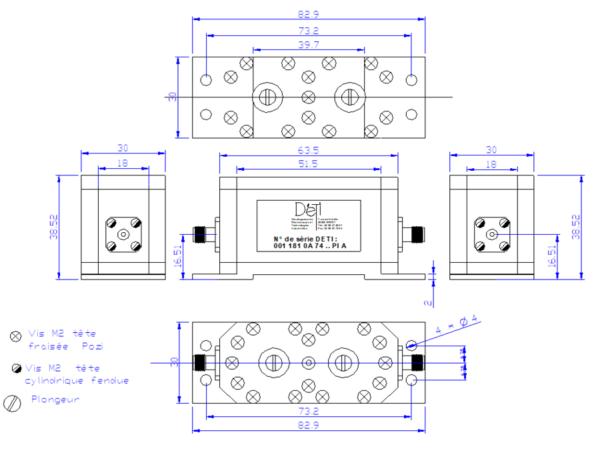DETI MICROWAVE BANDPASS FILTER 4230 - 4232 MHz 001181