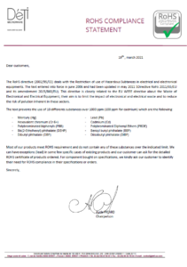 DETI Microwave ROHS COMPLIANCE STATEMENT